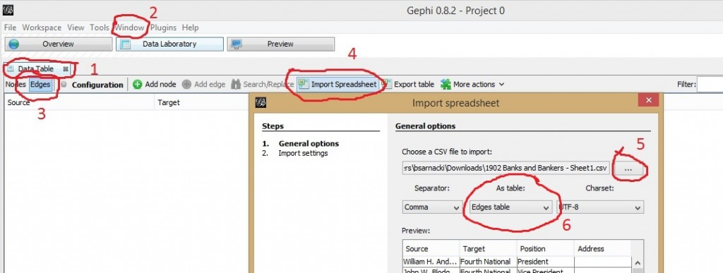 Screenshot of importing a spreadsheet